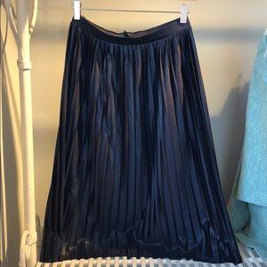 Topshop Navy Pleated Skirt